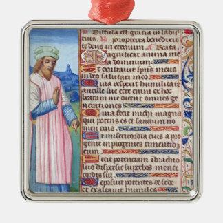 Texte du Magnificat avec un portrait de Ornement Carré Argenté