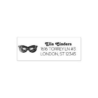 Texte élégant d'adresse de retour de masque de tampon auto-encreur