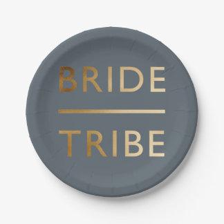 texte élégant minimaliste de feuille d'or de tribu assiettes en papier