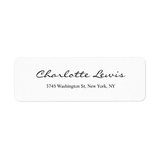 Texte lisible noir et blanc de plaine élégante de étiquette d'adresse retour