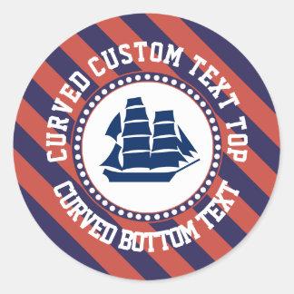 Texte rond de bateau nautique sticker rond
