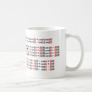 Texte rouge et noir de trigonométrie mug blanc