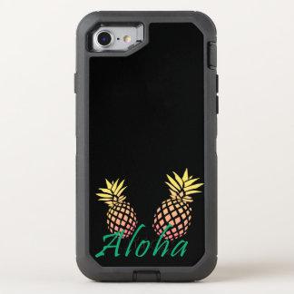 """texte tropical d'été """"aloha"""", ananas coloré coque otterbox defender pour iPhone 7"""