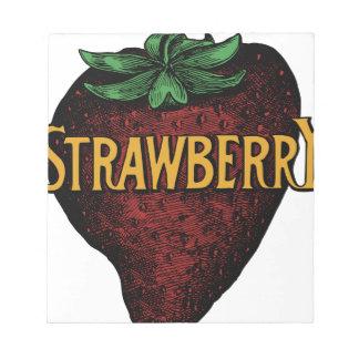 Texte vintage de fraise bloc-note