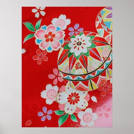 textile japonais de kimono motif floral posters zazzle. Black Bedroom Furniture Sets. Home Design Ideas