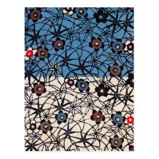 Textile japonais vintage de kimono (Bingata) Carte Postale