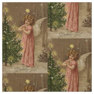 Textile rose vintage coloré d'ange de Noël Tissu