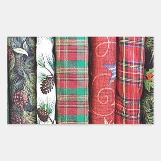 Textiles orientés de tissus de Noël de fête Sticker Rectangulaire