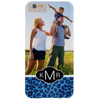 Texture bleue de léopard du monogramme | coque iPhone 6 plus barely there