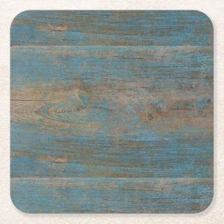Texture bleue en bois de plage de Faux Dessous-de-verre Carré En Papier
