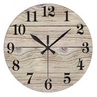 Texture d'arrière - plan de bois de flottage grande horloge ronde