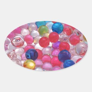 texture de boules de gelée de colore sticker ovale
