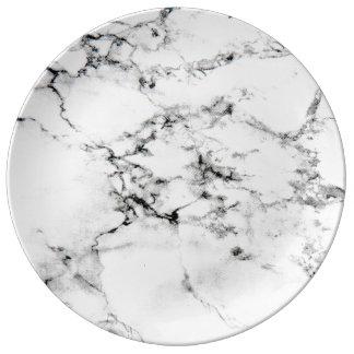 Texture de marbre assiette en porcelaine