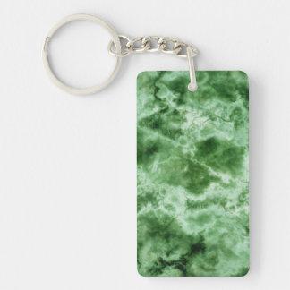 Texture de marbre verte porte-clé rectangulaire en acrylique double face