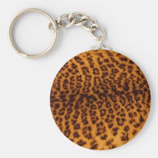 Texture de peau de léopard porte-clé rond
