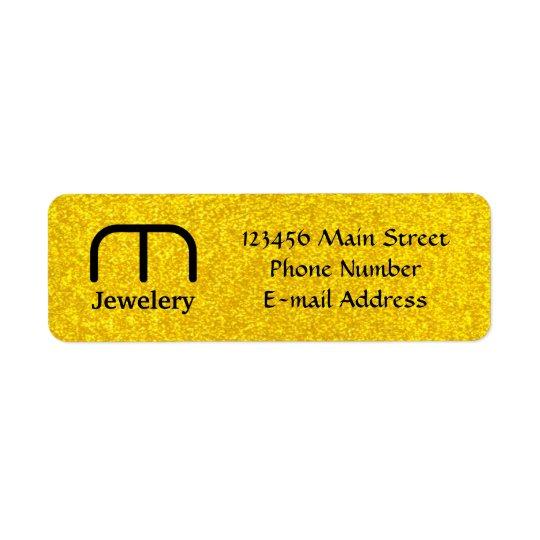 Texture de scintillement d'or étiquettes d'adresse retour