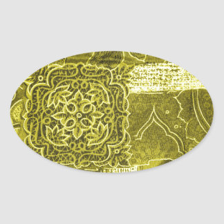 Texture de tissu de patchwork de vert jaune sticker ovale