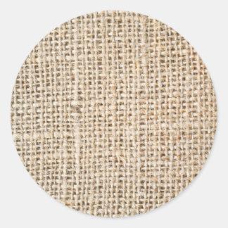 Texture de toile de jute sticker rond