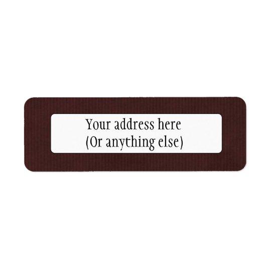 Texture détaillée balayée Brown foncé de papier Étiquette D'adresse Retour