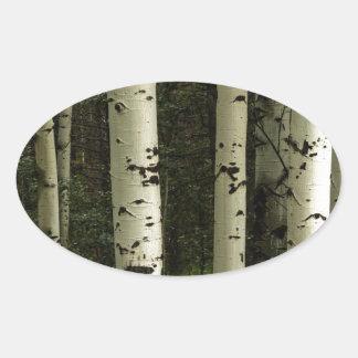 Texture d'un portrait de forêt sticker ovale