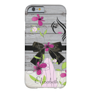 Texture en bois Girly, fleurs, arc, Coque iPhone 6 Barely There