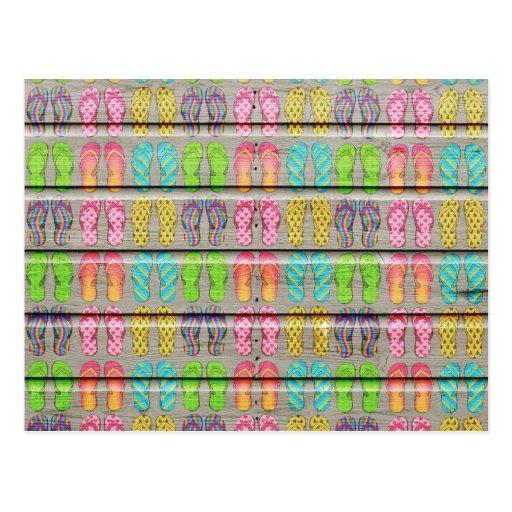 Texture en bois vintage de sandales colorées lunat cartes postales