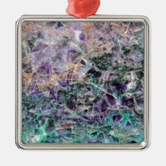 texture en pierre d'améthyste ornement carré argenté