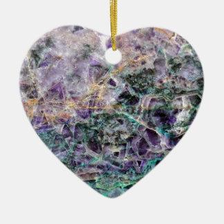 texture en pierre d'améthyste ornement cœur en céramique