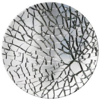 Texture en verre brisée assiettes en porcelaine