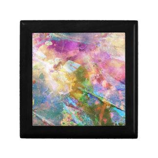 Texture grunge abstraite avec la peinture 3 d'aqua petite boîte à bijoux carrée