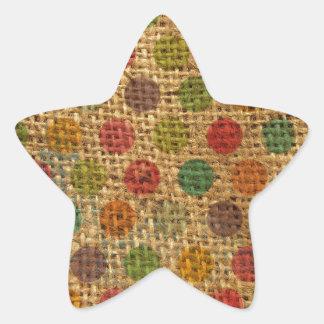 Texture grunge de toile de jute de tissu de pois sticker étoile