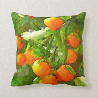 Texture, orange et vert d'aquarelle d'ARBRE ORANGE Coussin