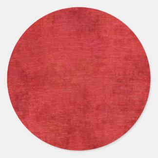 Texture rouge de tissu de Chenille de Noël Sticker Rond