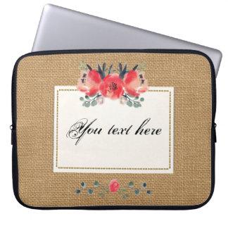 Texture rustique florale simple de toile de jute trousse ordinateur