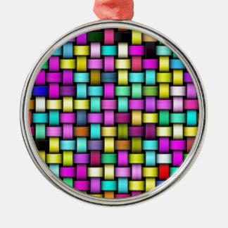 Texture tricotée colorée ornement rond argenté