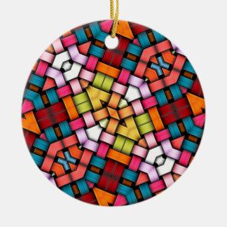 Texture tricotée colorée ornement rond en céramique