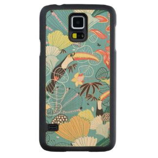 Texture tropicale avec des toucans et des colibris coque slim galaxy s5 en érable