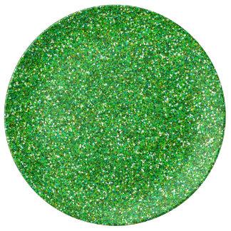 Texture verte de scintillement assiettes en porcelaine