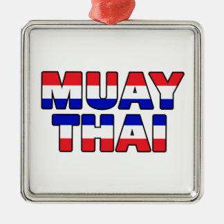 Thaïlandais de Muay Ornement Carré Argenté