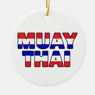 Thaïlandais de Muay Ornement Rond En Céramique