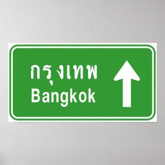 ⚠ thaïlandais de poteau de signalisation de route poster