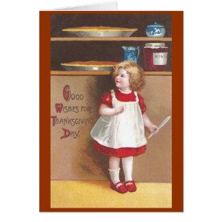 Thanksgiving de cru de tartes de fille et de citro carte de vœux