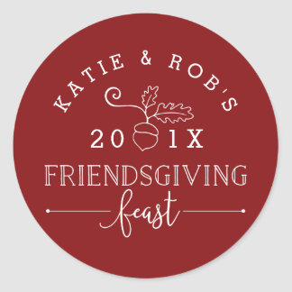 Thanksgiving de festin de Friendsgiving Sticker Rond