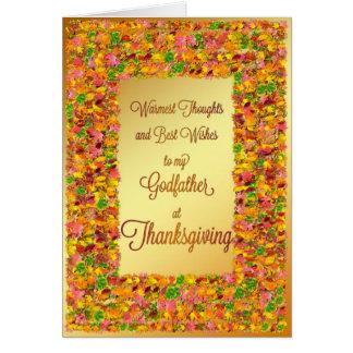Thanksgiving de parrain, feuille de chute carte de vœux