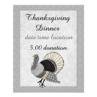 Thanksgiving fleuri noir et blanc Turquie Prospectus 11,4 Cm X 14,2 Cm