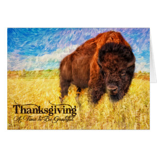 Thanksgiving - peinture de Buffalo de bison Cartes