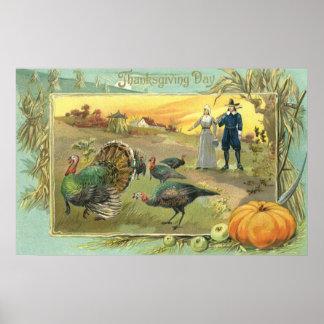 Thanksgiving vintage avec des pèlerins et des poster