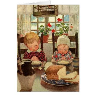 Thanksgiving vintage, enfants reconnaissants carte de vœux