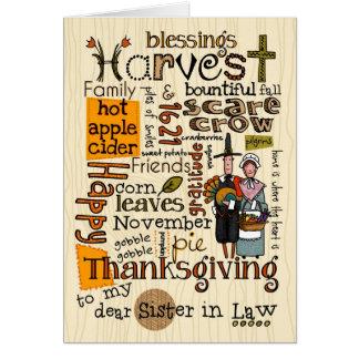 Thanksgiving Wordcloud - belle-soeur Cartes De Vœux