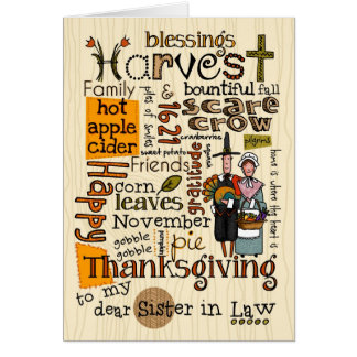 Thanksgiving Wordcloud - belle-soeur Carte De Vœux